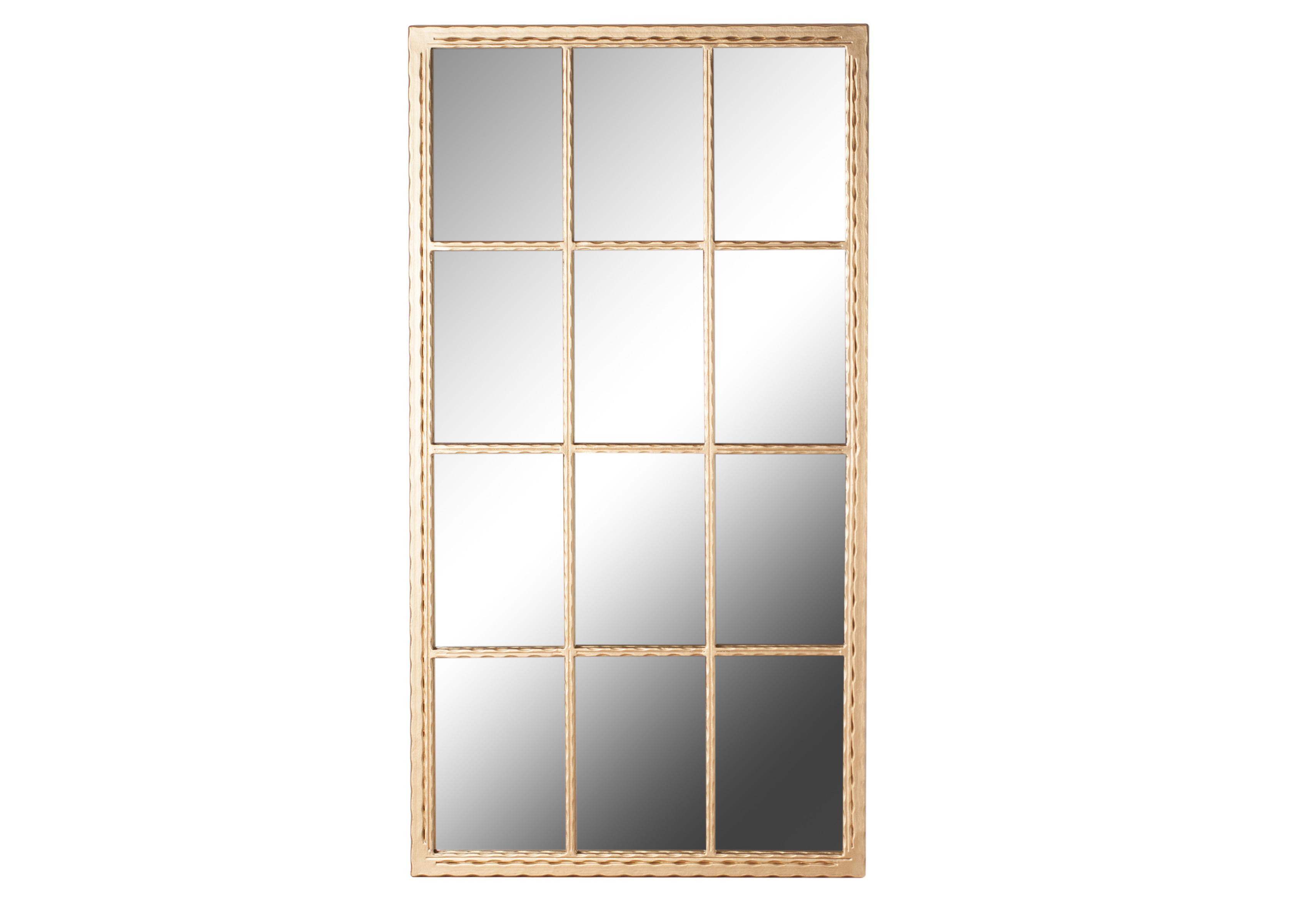 ЗеркалоНастенные зеркала<br>Зеркало в золотой металлической раме в виде окна прямоугольной формы. Окно-обманка - популярный дизайнерский прием, позволяющий добавить ощущение пространства там, где его не хватает. Такое зеркало станет стилистическим акцентом в интерьере fashion или эклектика. Произведено в России. Металлические детали обработаны порошковой покраской методом напыления. Эта технология обеспечивает высокое качество поверхности металла и способна придать красивый оттенок золотому покрытию.<br><br>Material: Стекло<br>Length см: None<br>Width см: 65<br>Depth см: 5<br>Height см: 120<br>Diameter см: None
