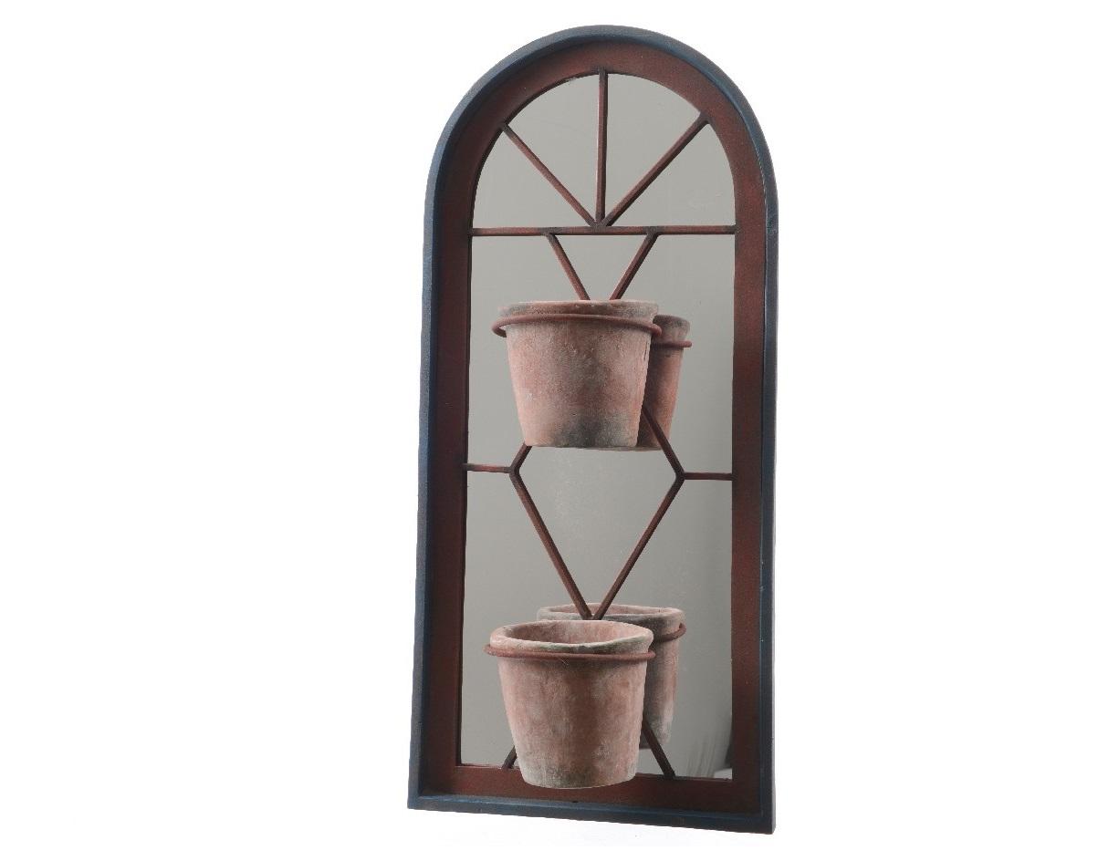 Настенное цветочное кашпо с зеркалом и двумя горшками