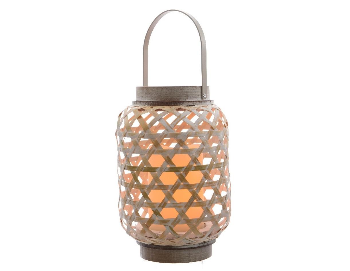 Бамбуковый светильник с встроенной  LED-свечойДекоративные лампы<br>Таймер на 6 часов, работает от 3х батареек AAA, срок работы около 120 часов<br><br>Material: Бамбук<br>Height см: 19<br>Diameter см: 15