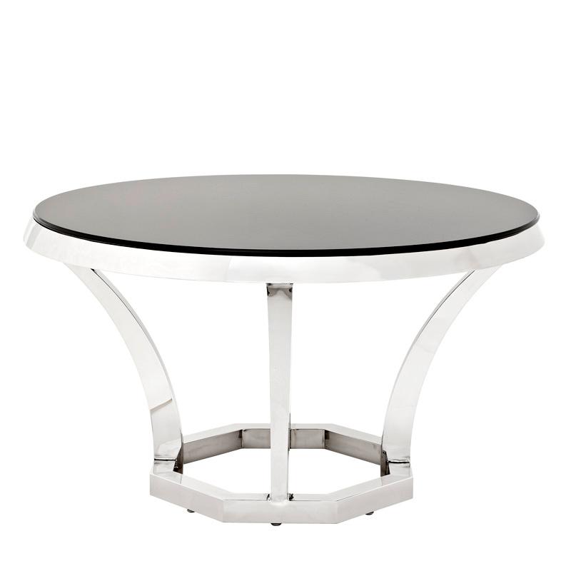 Обеденный стол Dining Table ValentinoОбеденные столы<br>Обеденный стол Dining Table Valentino на основании из полированной нержавеющей стали. Столешница из плотного стекла черного цвета.<br><br>Material: Стекло<br>Height см: 75<br>Diameter см: 130