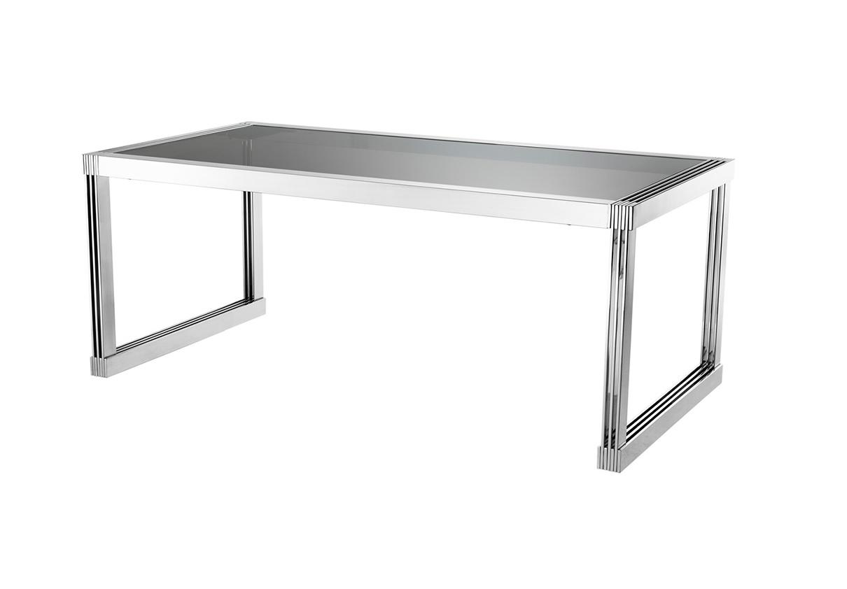 Обеденный стол Dining Table MarcheseОбеденные столы<br>Обеденный стол Dining Table Marchese на основании из полированной нержавеющей стали. Столешница выполнена из плотного стекла дымчатого цвета.<br><br>Material: Стекло<br>Ширина см: 195<br>Высота см: 78<br>Глубина см: 100