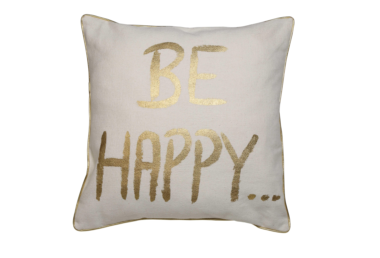 Подушка HappyКвадратные подушки<br>Декоративная подушка в белой наволочке с золотой надписью &amp;quot;будь счастлив&amp;quot; от голландского бренда light &amp;amp; living. Стильно будет смотреться и добавит яркий акцент на диване или кровати.<br><br>Material: Текстиль<br>Length см: 50<br>Width см: 50<br>Depth см: 0<br>Height см: 10<br>Diameter см: 0