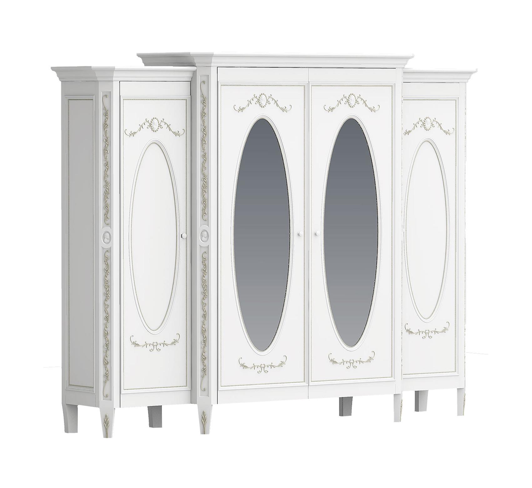 Шкаф с зеркалами БудуарПлатяные шкафы<br>Белая мебель для спальни коллекции &amp;quot;Будуар&amp;quot; - классическая мебель стиля Барокко, воплотившая в себе женственность, красоту и нежность дамских будуаров XVIII века. Узоры из жемчужин, цветов и камей - все это объединяет в себе тонкий лепной бордюр, искусно украшающий белую мебель, а легкое патинирование придает ему оттенок времени и неповторимого шика.&amp;lt;div&amp;gt;&amp;lt;br&amp;gt;&amp;lt;/div&amp;gt;&amp;lt;div&amp;gt;Шкаф имеет 4 двери.&amp;lt;/div&amp;gt;<br><br>Material: Бук<br>Length см: 0<br>Width см: 261.2<br>Depth см: 62<br>Height см: 210<br>Diameter см: 0