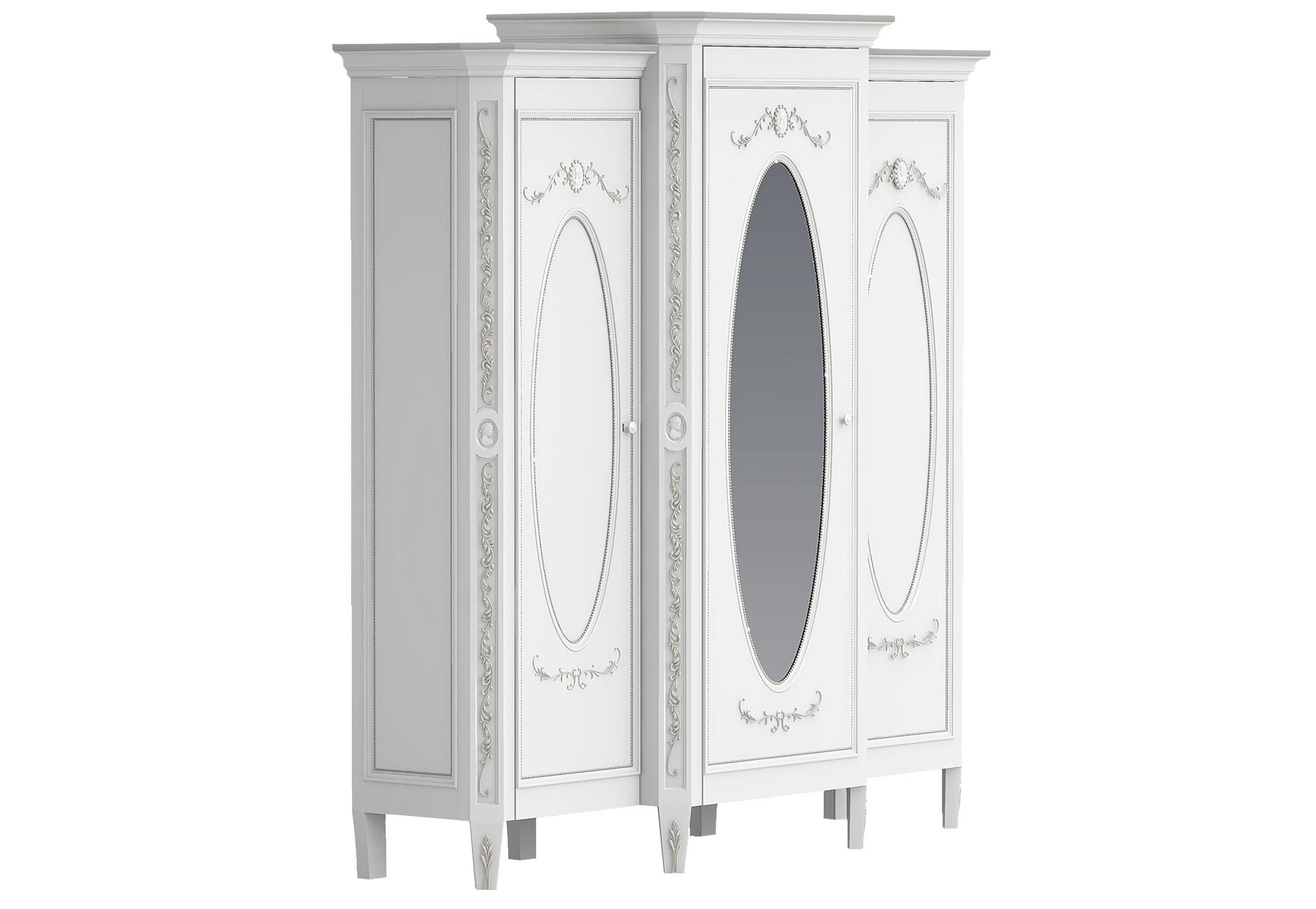 Шкаф платяной трехстворчатый с зеркалом БудуарПлатяные шкафы<br>Белая мебель для спальни коллекции &amp;quot;Будуар&amp;quot; - классическая мебель стиля Барокко, воплотившая в себе женственность, красоту и нежность дамских будуаров XVIII века. Узоры из жемчужин, цветов и камей - все это объединяет в себе тонкий лепной бордюр, искусно украшающий белую мебель, а легкое патинирование придает ему оттенок времени и неповторимого шика.<br><br>Material: Бук<br>Ширина см: 215<br>Высота см: 210<br>Глубина см: 62