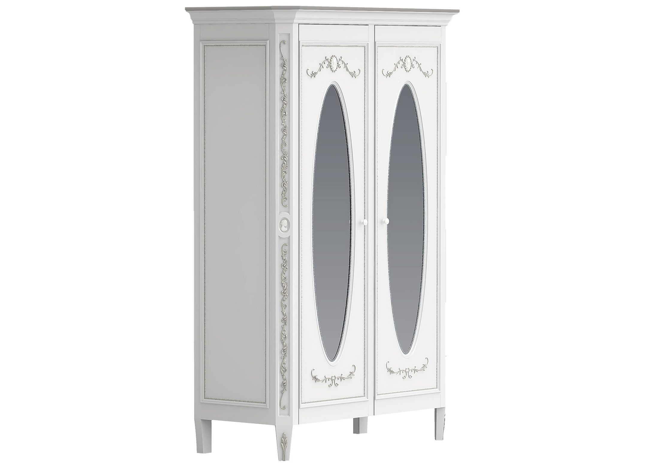 Шкаф платяной двухстворчатый с овальными зеркалами БудуарПлатяные шкафы<br>Белая мебель для спальни коллекции &amp;quot;Будуар&amp;quot; - классическая мебель стиля Барокко, воплотившая в себе женственность, красоту и нежность дамских будуаров XVIII века. Узоры из жемчужин, цветов и камей - все это объединяет в себе тонкий лепной бордюр, искусно украшающий белую мебель, а легкое патинирование придает ему оттенок времени и неповторимого шика.<br><br>Material: Бук<br>Length см: 0<br>Width см: 140<br>Depth см: 62<br>Height см: 210<br>Diameter см: 0