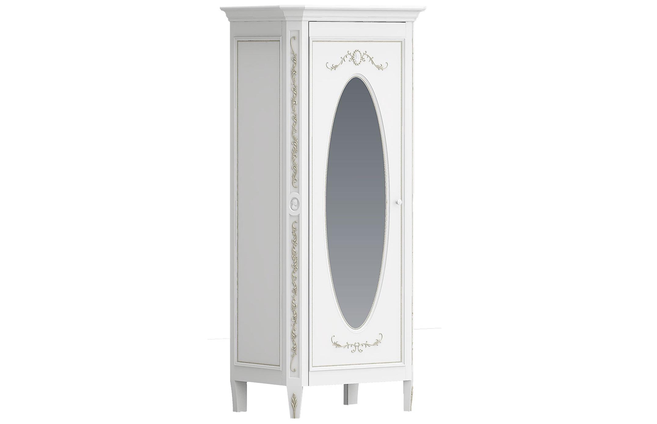 Шкаф однодверный с овальным зеркалом БудуарПлатяные шкафы<br>Белая мебель для спальни коллекции &amp;quot;Будуар&amp;quot; - классическая мебель стиля Барокко, воплотившая в себе женственность, красоту и нежность дамских будуаров XVIII века. Узоры из жемчужин, цветов и камей - все это объединяет в себе тонкий лепной бордюр, искусно украшающий белую мебель, а легкое патинирование придает ему оттенок времени и неповторимого шика.<br><br>Material: Бук<br>Ширина см: 94<br>Высота см: 210<br>Глубина см: 62