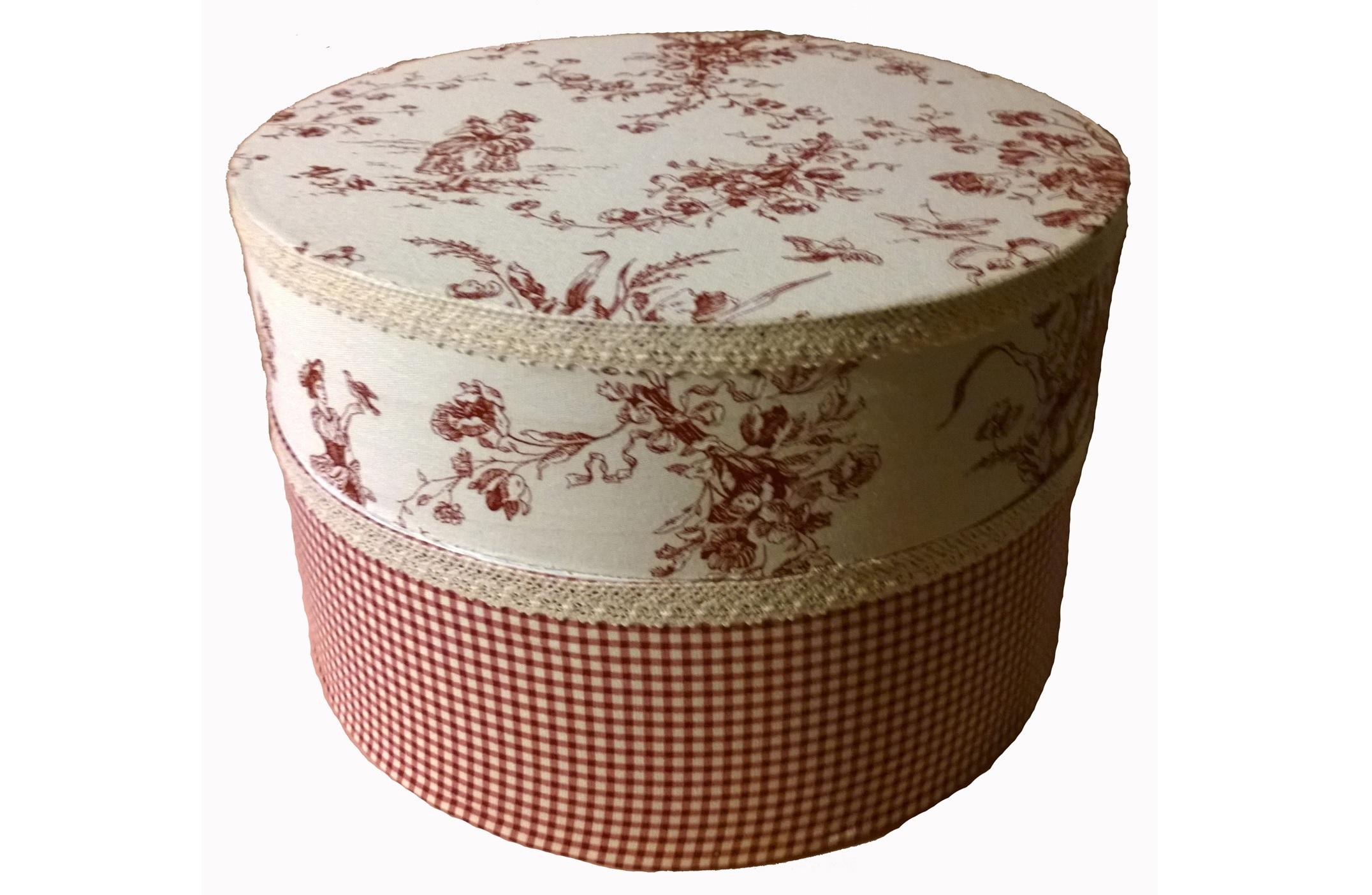 Набор декоративных коробок-шкатулок Жуи Бордо (3 шт)Коробки<br>Коробки-шкатулки деревянные декоративные в стиле Прованс для хранения мелочей, рукоделия, шляп  (снаружи х/б ткань, внутри белая краска).&amp;lt;div&amp;gt;&amp;lt;br&amp;gt;&amp;lt;/div&amp;gt;&amp;lt;div&amp;gt;Размеры коробок:&amp;lt;/div&amp;gt;&amp;lt;div&amp;gt;маленькая - высота 19 см, диаметр 21 см&amp;lt;/div&amp;gt;&amp;lt;div&amp;gt;средняя - высота 23 см, диаметр 42 см&amp;lt;/div&amp;gt;&amp;lt;div&amp;gt;большая - высота 26,5 см, диаметр 42 см&amp;lt;/div&amp;gt;<br><br>Material: Текстиль<br>Length см: None<br>Width см: None<br>Depth см: None<br>Height см: None<br>Diameter см: None