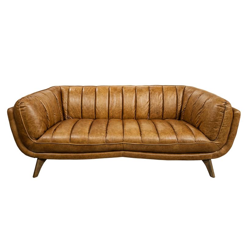 Диван CarmelКожаные диваны<br>Эффектный диван в стиле ретро, обитый натуральной кожей темно-горчичного цвета отделан продольными швами на обивке. Такой оригинальный диван подойдет для обстановки гостиной, приемной, офиса, библиотеки.<br><br>Material: Кожа<br>Length см: 218.0<br>Width см: 98.0<br>Depth см: None<br>Height см: 79.0<br>Diameter см: None