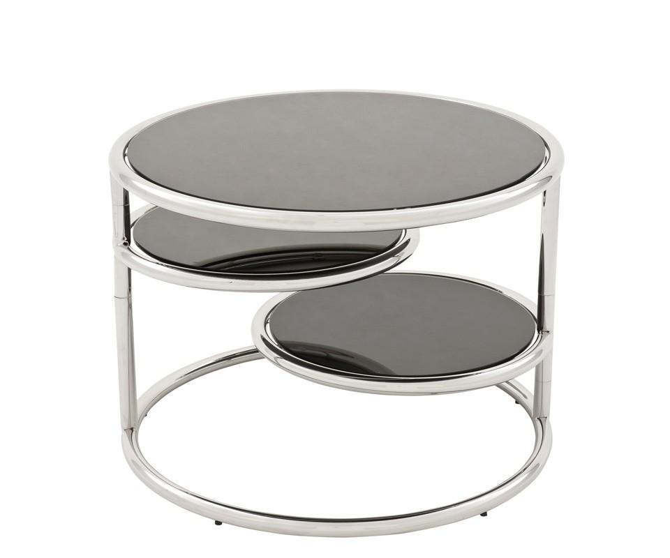 СтолПриставные столики<br>Столик Side Table Rizer с каркасом из полированной нержавеющей стали. Столешницы выполнены из плотного стекла черного цвета.<br><br>Material: Сталь<br>Высота см: 55