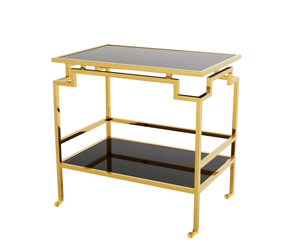 СтолСервировочные столики<br>Сервировочный столик Trolley Tuxedo на колесиках выполнен из металла золотого цвета. Столешница и полка выполнены из плотного стекла черного цвета.<br><br>Material: Стекло<br>Ширина см: 72.0<br>Высота см: 71<br>Глубина см: 47.0