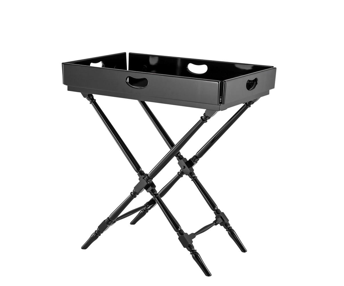 СтолСервировочные столики<br>Сервировочный столик Butler Tray Rudolph выполнен из дерева черного цвета. Столешница раскладывается и съемная, можно использовать как поднос.<br><br>Material: Дерево<br>Width см: 86<br>Depth см: 53<br>Height см: 81