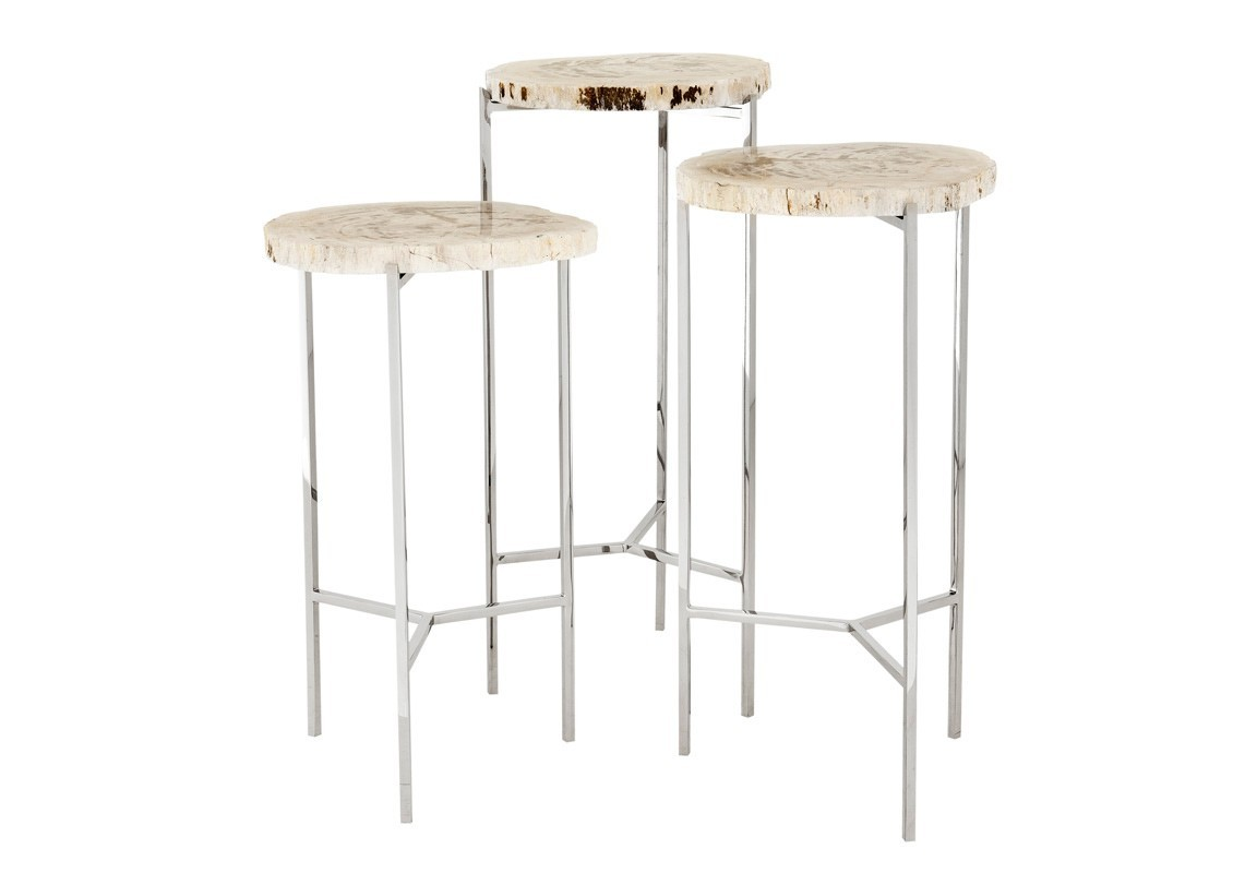 Набор из столиков Side Table (3шт)Приставные столики<br>Набор из 3-х столиков Side Table Newson set of 3 на ножках из нержавеющей стали. Оригинальные столешницы из окаменелой породы древесины. Каждый элемент окаменевшего дерева является уникальным, вы не найдете двух одинаковых столешниц по цвету или форме.&amp;amp;nbsp;&amp;lt;div&amp;gt;&amp;lt;br&amp;gt;&amp;lt;/div&amp;gt;&amp;lt;div&amp;gt;Размеры столиков: 49х25х25 см, 54.5х27.5х27.5 см, 60х30х30 см.&amp;lt;/div&amp;gt;<br><br>Material: Дерево<br>Height см: 60<br>Diameter см: 30