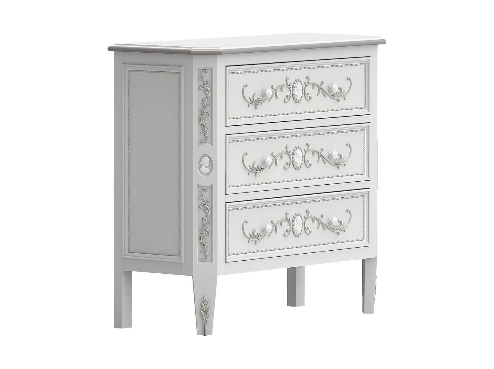 Комод БудуарБельевые комоды<br>Белая мебель для спальни коллекции &amp;quot;Будуар&amp;quot; - классическая мебель стиля Барокко, воплотившая в себе женственность, красоту и нежность дамских будуаров XVIII века. Узоры из жемчужин, цветов и камей - все это объединяет в себе тонкий лепной бордюр, искусно украшающий белую мебель, а легкое патинирование придает ему оттенок времени и неповторимого шика.&amp;amp;nbsp;<br><br>Material: Бук<br>Ширина см: 110.0<br>Высота см: 91.0<br>Глубина см: 43.0