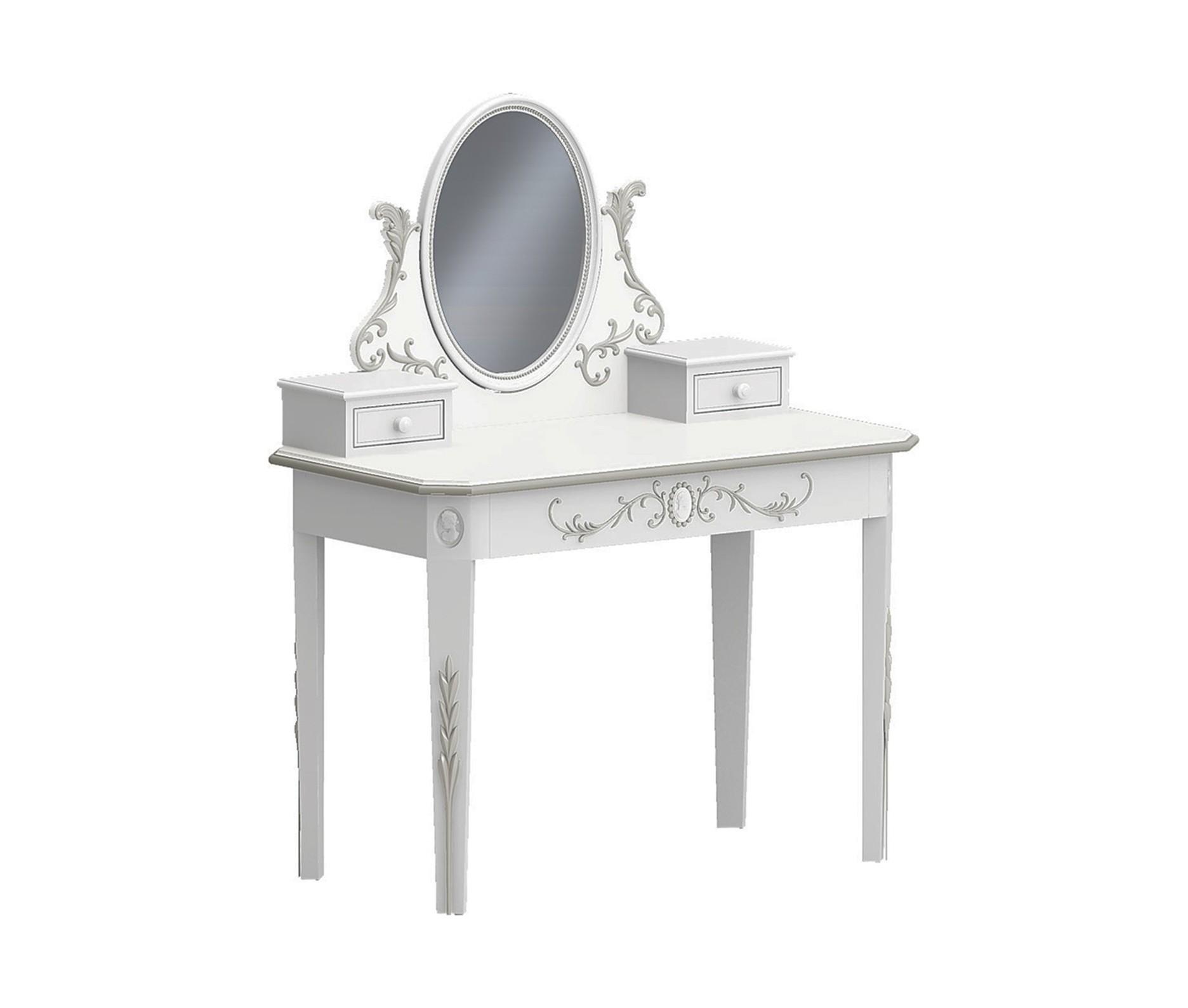 Туалетный столик с зеркалом и ящиками БудуарТуалетные столики<br>Белая мебель для спальни коллекции &amp;quot;Будуар&amp;quot; - классическая мебель стиля Барокко, воплотившая в себе женственность, красоту и нежность дамских будуаров XVIII века. Узоры из жемчужин, цветов и камей - все это объединяет в себе тонкий лепной бордюр, искусно украшающий белую мебель, а легкое патинирование придает ему оттенок времени и неповторимого шика.<br><br>Material: Бук<br>Length см: 0<br>Width см: 110<br>Depth см: 60<br>Height см: 140<br>Diameter см: 0
