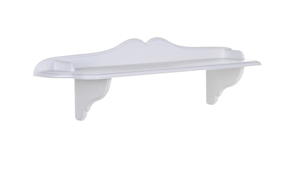 Полка декоративная Снежный ПровансПолки<br>Белая мебель Прованс для гостиной, спальни, столовой, кабинета отлично впишется в Ваш загородный дом. Белая высококачественная мебель &amp;quot;Снежный Прованс&amp;quot; также может послужить в качестве обстановки детской комнаты подростка. Это функциональная удобная мебель европейского качества. Коллекция изготовлена из массива бука (каркасы и точеные элементы мебели) и из высококачественного МДФ (филенчатые части) и соответствует немецким стандартам для детской мебели.<br>Мебель &amp;quot;Снежный Прованс&amp;quot; имеет плавные изогнутые формы и украшена потертым вручную декором в виде оливковой ветви.<br><br>Material: Бук<br>Length см: None<br>Width см: 91<br>Depth см: 20<br>Height см: 21<br>Diameter см: None
