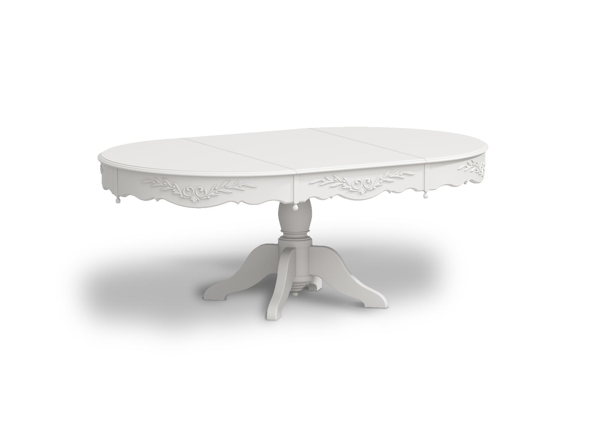 Стол круглый раздвижной Снежный ПровансОбеденные столы<br>Белая мебель Прованс для гостиной, спальни, столовой, кабинета отлично впишется в Ваш загородный дом. Белая высококачественная мебель &amp;quot;Снежный Прованс&amp;quot; также может послужить в качестве обстановки детской комнаты подростка. Это функциональная удобная мебель европейского качества. Коллекция изготовлена из массива бука (каркасы и точеные элементы мебели) и из высококачественного МДФ (филенчатые части) и соответствует немецким стандартам для детской мебели.<br>Мебель &amp;quot;Снежный Прованс&amp;quot; имеет плавные изогнутые формы и украшена потертым вручную декором в виде оливковой ветви.&amp;lt;div&amp;gt;&amp;lt;br&amp;gt;&amp;lt;/div&amp;gt;&amp;lt;div&amp;gt;Ширина стола в разобранном виде - 180 см.&amp;lt;/div&amp;gt;<br><br>Material: Бук<br>Высота см: 75