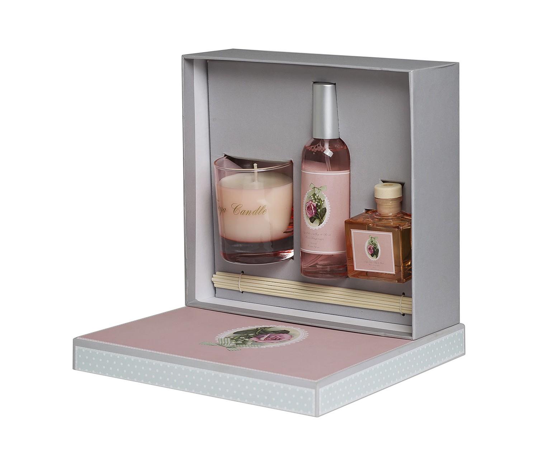 Набор подарочный с ароматом ландыша и розыАксессуары для ванной<br>Набор: свеча. тростниковые палочки, эфирное масло с ароматом ландыша и розы (спрей 100 мл, диффузор 80 мл)<br><br>Material: Стекло<br>Width см: 22<br>Depth см: 7<br>Height см: 24