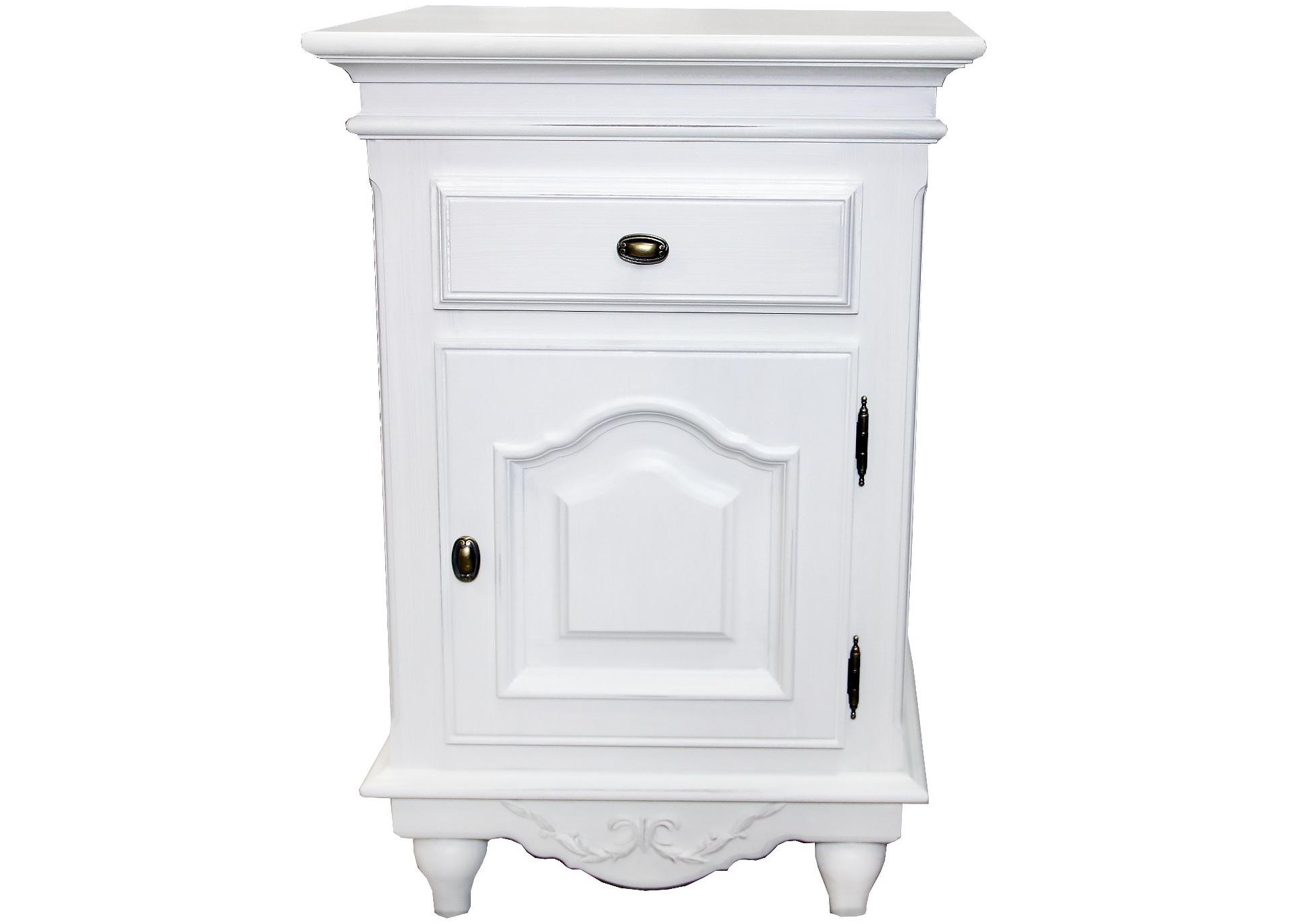 Тумбочка прикроватная Снежный ПровансПрикроватные тумбы, комоды, столики<br>Белая мебель Прованс для гостиной, спальни, столовой, кабинета отлично впишется в Ваш загородный дом. Белая высококачественная мебель &amp;quot;Снежный Прованс&amp;quot; также может послужить в качестве обстановки детской комнаты подростка. Это функциональная удобная мебель европейского качества. Коллекция изготовлена из массива бука (каркасы и точеные элементы мебели) и из высококачественного МДФ (филенчатые части) и соответствует немецким стандартам для детской мебели.<br>Мебель &amp;quot;Снежный Прованс&amp;quot; имеет плавные изогнутые формы и украшена потертым вручную декором в виде оливковой ветви.<br><br>Material: Бук<br>Length см: None<br>Width см: 47<br>Depth см: 37<br>Height см: 71.2<br>Diameter см: None