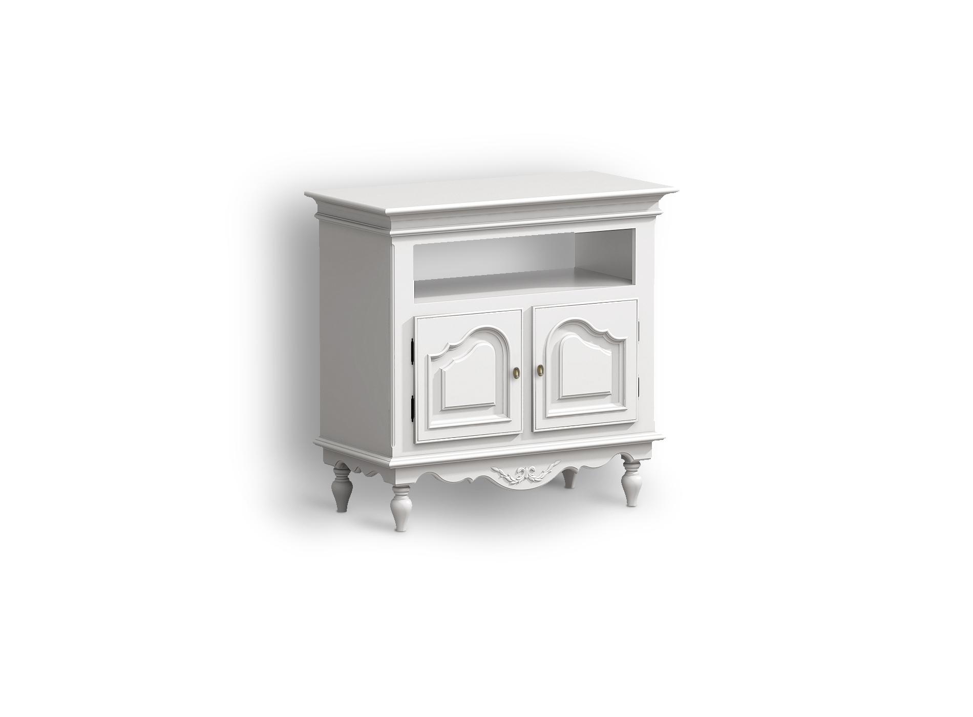 Тумба под ТВ Снежный ПровансТумбы под TV<br>Белая мебель Прованс для гостиной, спальни, столовой, кабинета отлично впишется в Ваш загородный дом. Белая высококачественная мебель &amp;quot;Снежный Прованс&amp;quot; также может послужить в качестве обстановки детской комнаты подростка. Это функциональная удобная мебель европейского качества. Коллекция изготовлена из массива бука (каркасы и точеные элементы мебели) и из высококачественного МДФ (филенчатые части) и соответствует немецким стандартам для детской мебели.<br>Мебель &amp;quot;Снежный Прованс&amp;quot; имеет плавные изогнутые формы и украшена потертым вручную декором в виде оливковой ветви.<br><br>Material: Бук<br>Ширина см: 90<br>Высота см: 86<br>Глубина см: 44