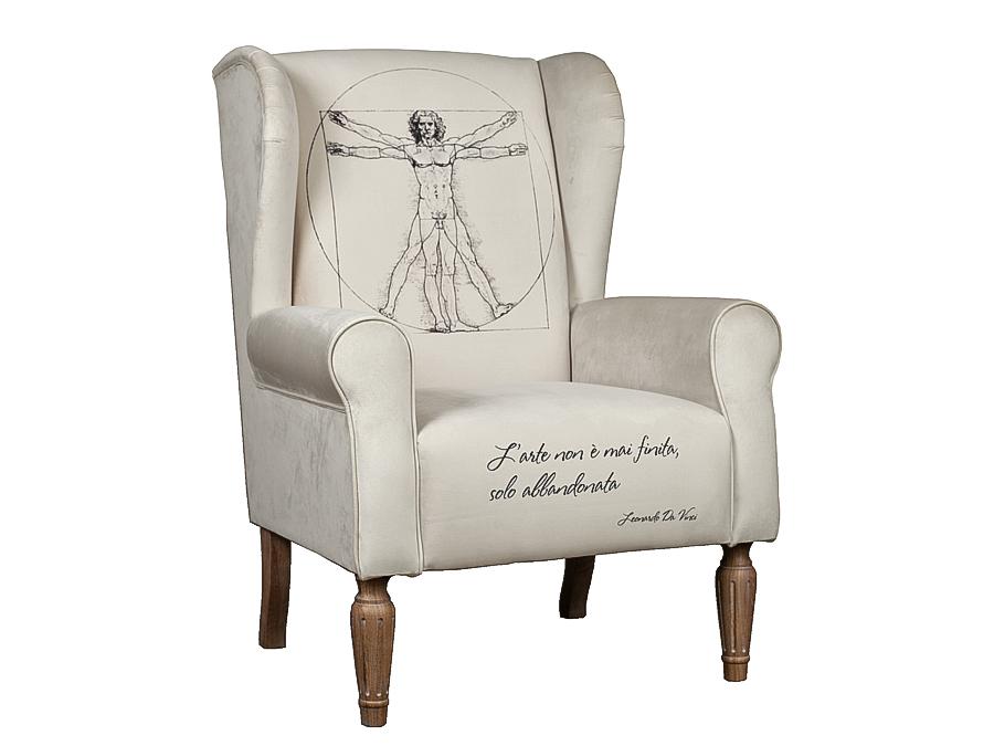 Кресло Vitruvian ManИнтерьерные кресла<br>Уникальный дизайн. Кресло с принтом великого Леонардо Да Винчи. Модель представлена в ткани микровелюр – мягкий, бархатистый материал, широко используемый в качестве обивки для мебели. Обладает целым рядом замечательных свойств: отлично пропускает воздух, отталкивает пыль и долго сохраняет изначальный цвет, не протираясь и не выцветая.&amp;lt;div&amp;gt;&amp;lt;br&amp;gt;&amp;lt;/div&amp;gt;&amp;lt;div&amp;gt;Варианты исполнения: по желанию возможность выбрать ткань из других коллекций.&amp;lt;/div&amp;gt;&amp;lt;div&amp;gt;Гарантия: от производителя 1 год.&amp;lt;/div&amp;gt;&amp;lt;div&amp;gt;Материалы: дуб, текстиль.&amp;amp;nbsp;&amp;lt;/div&amp;gt;<br><br>Material: Текстиль<br>Width см: 80<br>Depth см: 77<br>Height см: 107