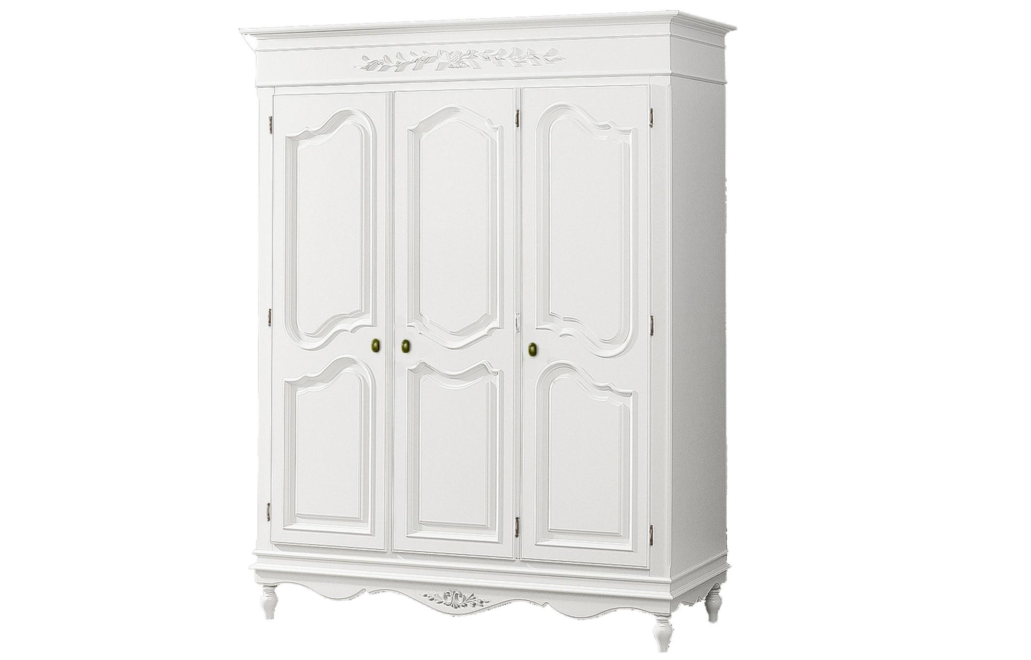 Шкаф трехстворчатый Снежный ПровансПлатяные шкафы<br>Белая мебель Прованс для гостиной, спальни, столовой, кабинета отлично впишется в Ваш загородный дом. Белая высококачественная мебель &amp;quot;Снежный Прованс&amp;quot; также может послужить в качестве обстановки детской комнаты подростка. Это функциональная удобная мебель европейского качества. Коллекция изготовлена из массива бука (каркасы и точеные элементы мебели) и из высококачественного МДФ (филенчатые части) и соответствует немецким стандартам для детской мебели.<br>Мебель &amp;quot;Снежный Прованс&amp;quot; имеет плавные изогнутые формы и украшена потертым вручную декором в виде оливковой ветви.<br><br>Material: Бук<br>Length см: None<br>Width см: 169.2<br>Depth см: 61.2<br>Height см: 206.8<br>Diameter см: None