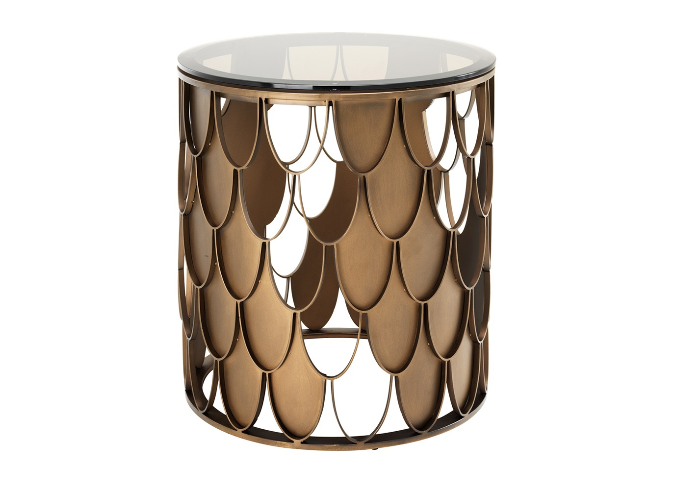 СтолПриставные столики<br>Приставной столик Side Table L&amp;amp;#39;indiscret с оригинальным дизайном выполнен из металла медного цвета. Столешница выполнена из плотного прозрачного стекла.<br><br>Material: Стекло<br>Height см: 55<br>Diameter см: 50