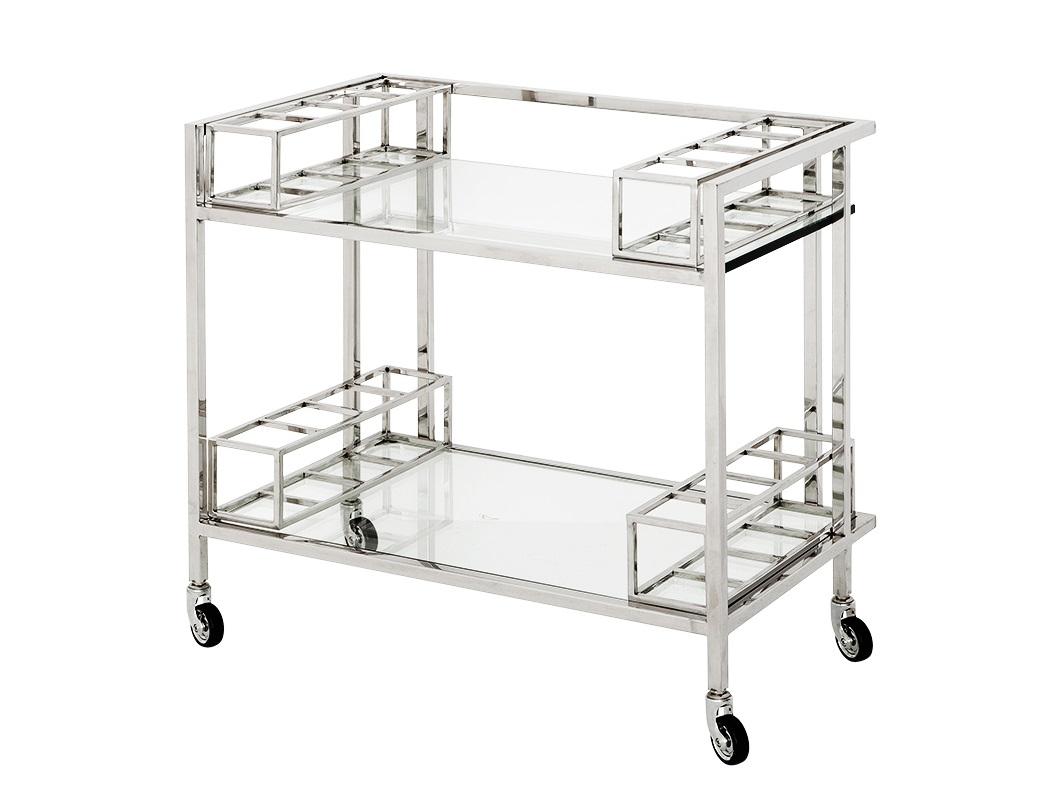СтолСервировочные столики<br>Сервировочный столик Trolley Le Pomerol на колесиках выполнен из полированной нержавеющей стали. Столешница и полка выполнены из плотного прозрачного стекла.<br><br>Material: Металл<br>Width см: 80<br>Depth см: 48<br>Height см: 78
