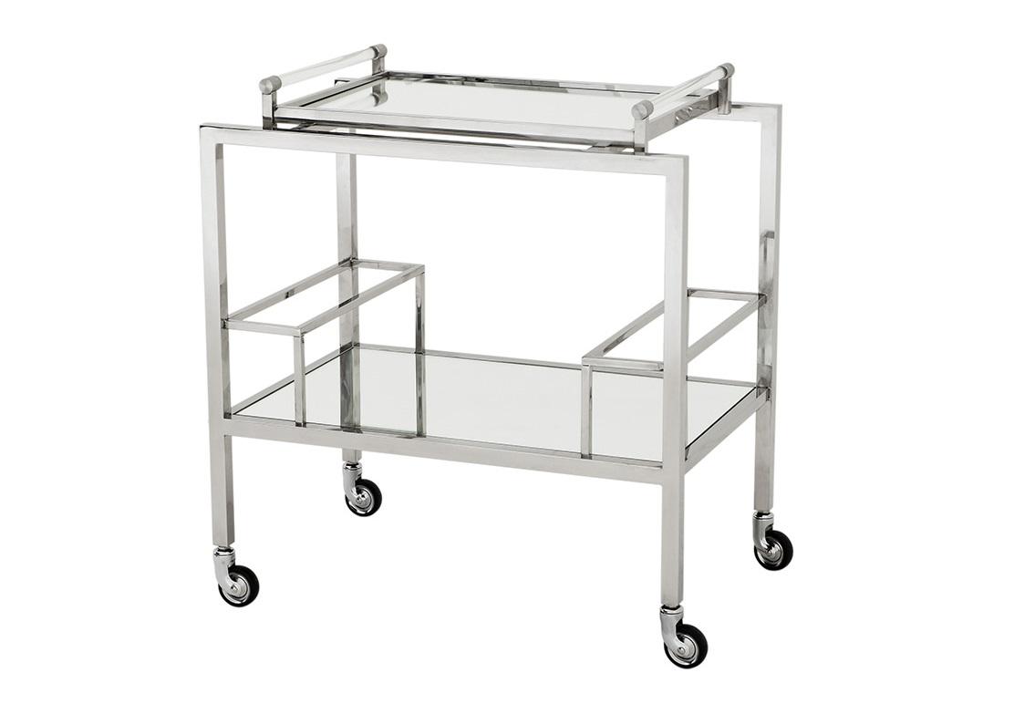 СтолСервировочные столики<br>Сервировочный столик Trolley Majestic на колесиках выполнен из полированной нержавеющей стали. Столешница и полка выполнены из плотного зеркального стекла.<br><br>Material: Металл<br>Width см: 72<br>Depth см: 47<br>Height см: 72