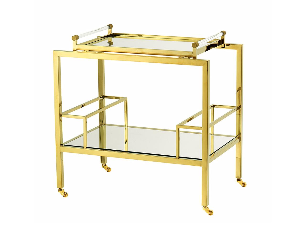 СтолСервировочные столики<br>Сервировочный столик Trolley Majestic на колесиках выполнен из металла золотого цвета. Столешница и полка выполнены из плотного зеркального стекла.<br><br>Material: Металл<br>Width см: 72<br>Depth см: 47<br>Height см: 72