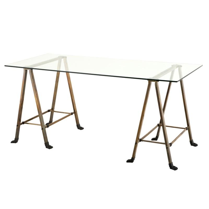 СтолОбеденные столы<br>Стол Desk Lorentz с каркасом из металла цвета античная латунь. Столешница из плотного прозрачного стекла.<br><br>Material: Стекло<br>Ширина см: 170<br>Высота см: 77<br>Глубина см: 80