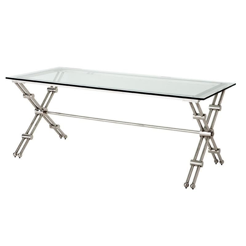 СтолОбеденные столы<br>Стол Desk Hilton на основании из нержавеющей стали. Столешница из плотного прозрачного стекла.<br><br>Material: Стекло<br>Ширина см: 190<br>Высота см: 76<br>Глубина см: 90