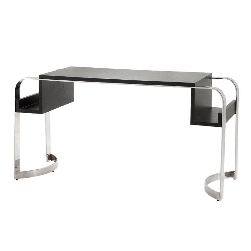 СтолПисьменные столы<br>Письменный стол Desk Bronowski на основании из нержавеющей стали. Столешница из шпона черного цвета.<br><br>Material: Дерево<br>Width см: 148<br>Depth см: 55<br>Height см: 76
