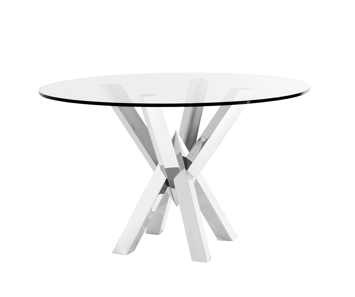 СтолОбеденные столы<br>Обеденный стол Dining Table Triumph на основании из полированной нержавеющей стали. Столешница из плотного прозрачного стекла.<br><br>Material: Стекло<br>Ширина см: 125.0<br>Высота см: 77.0<br>Глубина см: 125.0