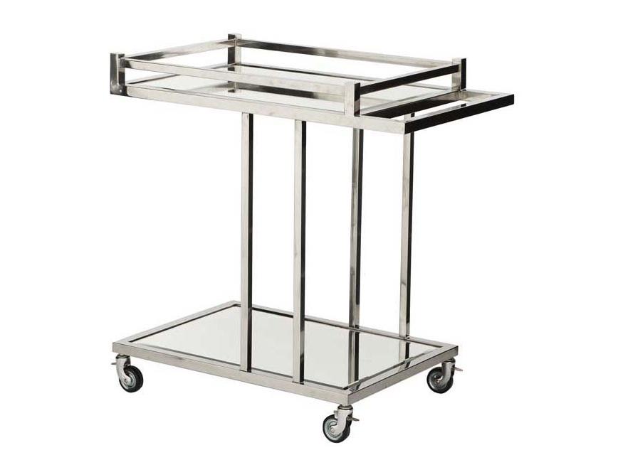 СтолСервировочные столики<br>Сервировочный столик Trolley Beverly Hills на колесиках выполнен из полированной нержавеющей стали. Столешница и нижняя полка из зеркального цвета.<br><br>Material: Металл<br>Width см: 78<br>Depth см: 46<br>Height см: 79