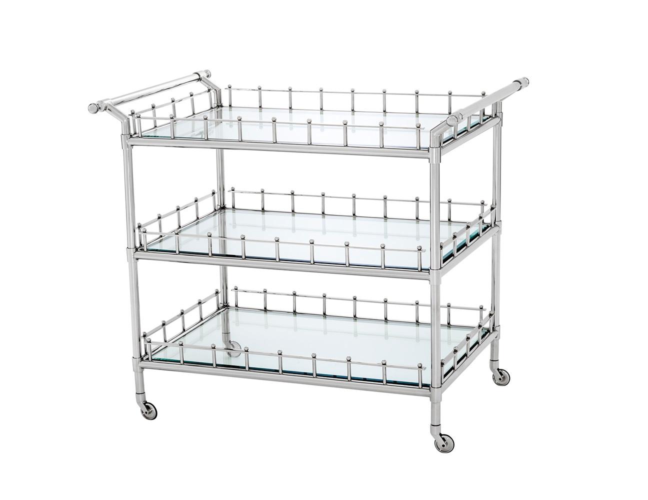 СтолСервировочные столики<br>Сервировочный столик Trolley Scarlett на колесиках выполнен из никелированного металла. Столешница и полки выполнены из плотного прозрачного стекла.<br><br>Material: Металл<br>Width см: 102<br>Depth см: 71,5<br>Height см: 90,5