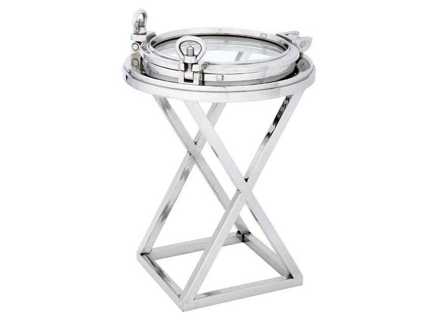 СтолКофейные столики<br>Стол-иллюминатор Side Table Porthole HMS Endurance из металла цвета никель с оригинальным дизайном. Столешница из плотного стекла.<br><br>Material: Металл<br>Height см: 83<br>Diameter см: 58