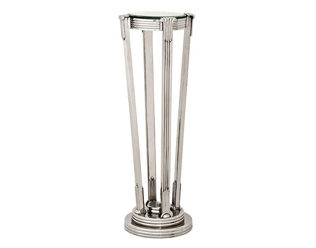 КолоннаПьедесталы<br>Колонна Column Demoiselle выполнена из никелированного металла. Столешница из плотного стекла черного цвета.<br><br>Material: Металл<br>Высота см: 105