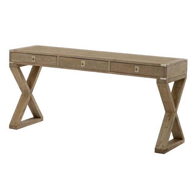 СтолПисьменные столы<br>Письменный стол Desk Wisconsin выполнен из дерева бежевого цвета. Стол оснащен 3-мя выдвижными ящиками с металлическими ручками цвета латунь.<br><br>Material: Дерево<br>Width см: 144<br>Depth см: 55<br>Height см: 78