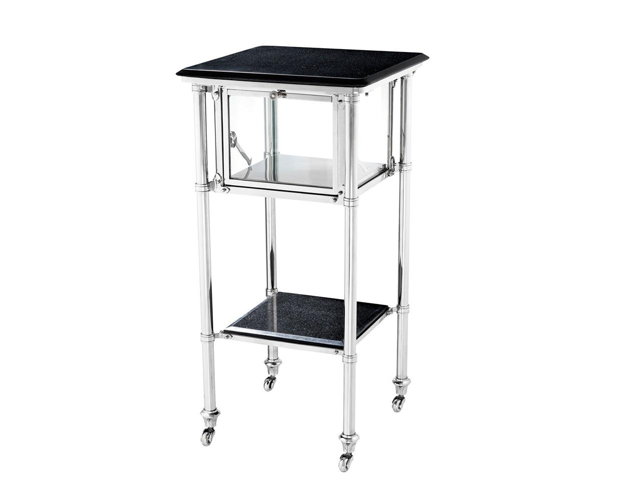 СтолСервировочные столики<br>Сервировочный столик Side Table Pitanguy на колесиках выполнен из никелированного металла. Столешница и нижняя полка из гранита черного цвета. Под столешницей отсек с прозрачными стеклянными створками и стеклянной дверцей.<br><br>Material: Металл<br>Width см: 39<br>Depth см: 39<br>Height см: 80
