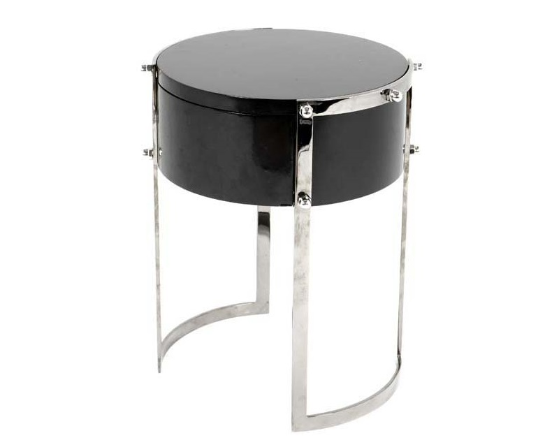 СтолПриставные столики<br>Приставной&amp;amp;nbsp;столик Side Table Coco на основании из полированной нержавеющей стали. Столешница из дерева черного цвета.<br><br>Material: Дерево<br>Height см: 56<br>Diameter см: 41