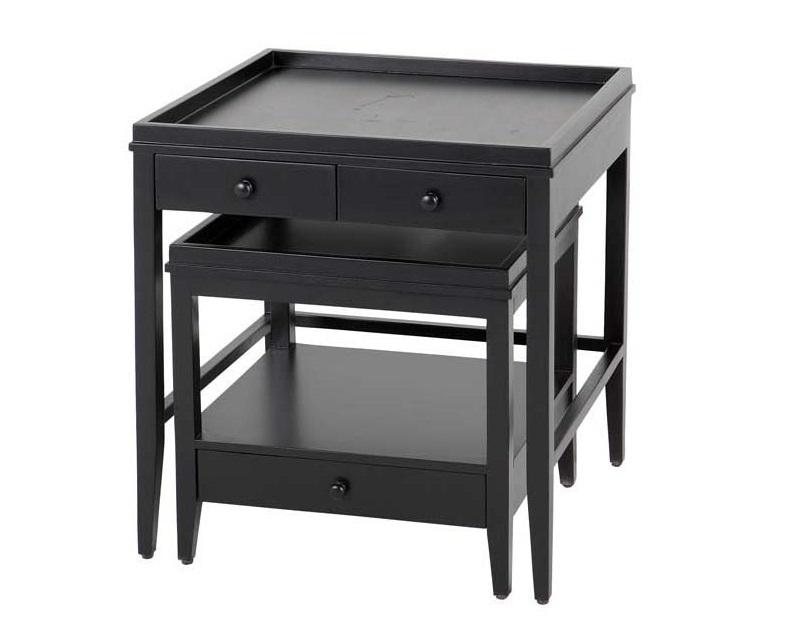 СтолПрикроватные тумбы, комоды, столики<br>Набор из 2-х прикроватных столиков Side Table Bleeker set of 2 из дерева черного цвета. Столики оснащены выдвижными ящичками.&amp;amp;nbsp;&amp;lt;div&amp;gt;&amp;lt;br&amp;gt;&amp;lt;/div&amp;gt;&amp;lt;div&amp;gt;Размеры: 61х57х55см и 45х47х45см.&amp;lt;/div&amp;gt;<br><br>Material: Дерево