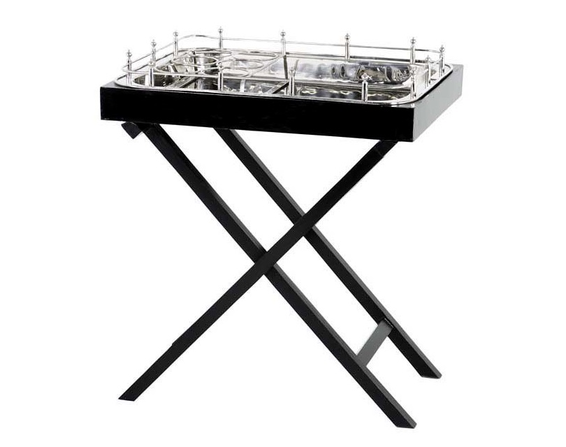 СтолСервировочные столики<br>Барный столик из коллекции Harry's Bar выполнен из дерева черного цвета. Столешница из никелированного металла.<br><br>Material: Металл<br>Ширина см: 73.0<br>Высота см: 83.0<br>Глубина см: 53.0