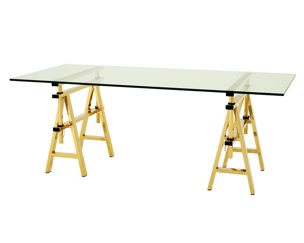 Обеденный столОбеденные столы<br>Обеденный стол Desk Shaker на ножках из металла золотого цвета. Столешница из плотного прозрачного стекла.&amp;amp;nbsp;&amp;lt;div&amp;gt;&amp;lt;br&amp;gt;&amp;lt;/div&amp;gt;&amp;lt;div&amp;gt;Высота стола регулируется от 64 до 77 см.&amp;lt;/div&amp;gt;<br><br>Material: Стекло<br>Width см: 190<br>Depth см: 90<br>Height см: 77