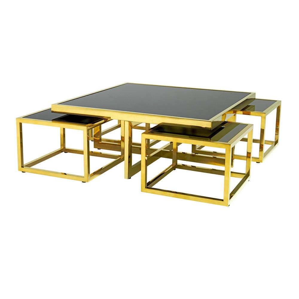Журнальный столикЖурнальные столики<br>Журнальный столик Coffee Table Monogram&amp;amp;nbsp;&amp;amp;nbsp;5 в 1 на металлическом основании золотого цвета. Столешница выполнена из плотного стекла черного цвета.<br><br>Material: Стекло<br>Width см: 100<br>Depth см: 100<br>Height см: 40
