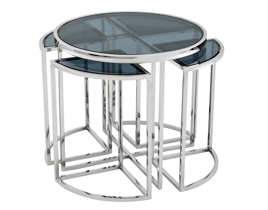 СтолПриставные столики<br>Приставной столик Side Table Padova 5 в 1 на основании из полированной нержавеющей стали. Столешницы выполнены из плотного стекла дымчотого цвета.<br><br>Material: Сталь<br>Height см: 55<br>Diameter см: 60