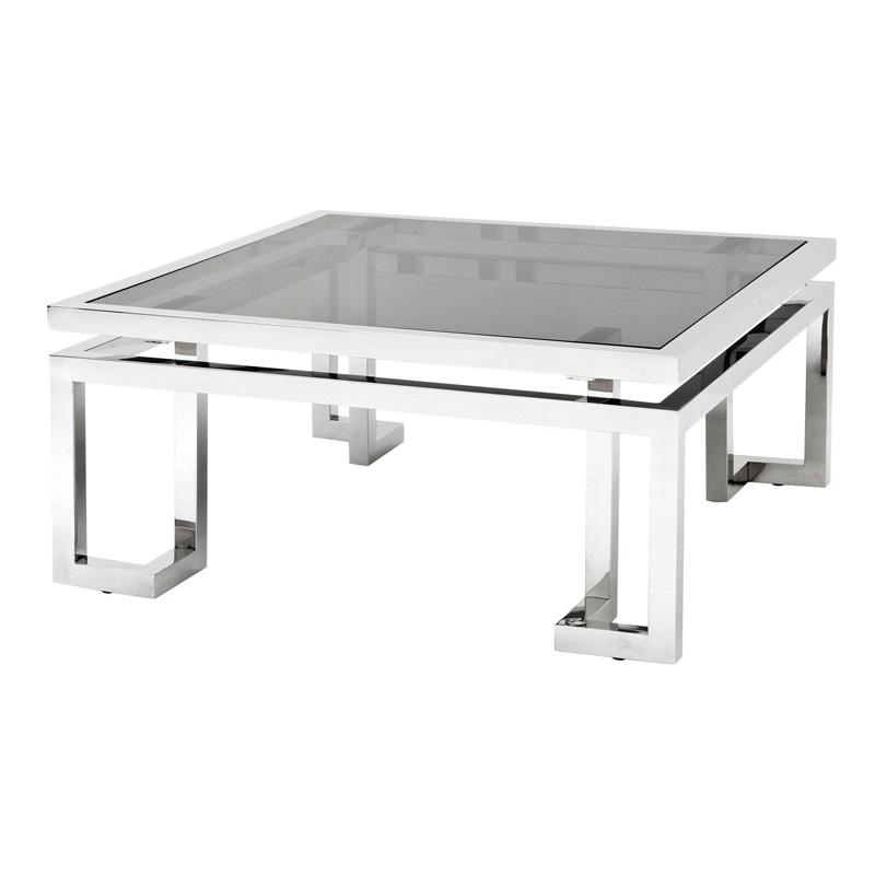 Журнальный столикЖурнальные столики<br>Журнальный столик Coffee Table Palmer с каркасом из нержавеющей стали. Столешница выполнена из плотного стекла дымчатого цвета.<br><br>Material: Стекло<br>Width см: 100<br>Depth см: 100<br>Height см: 45
