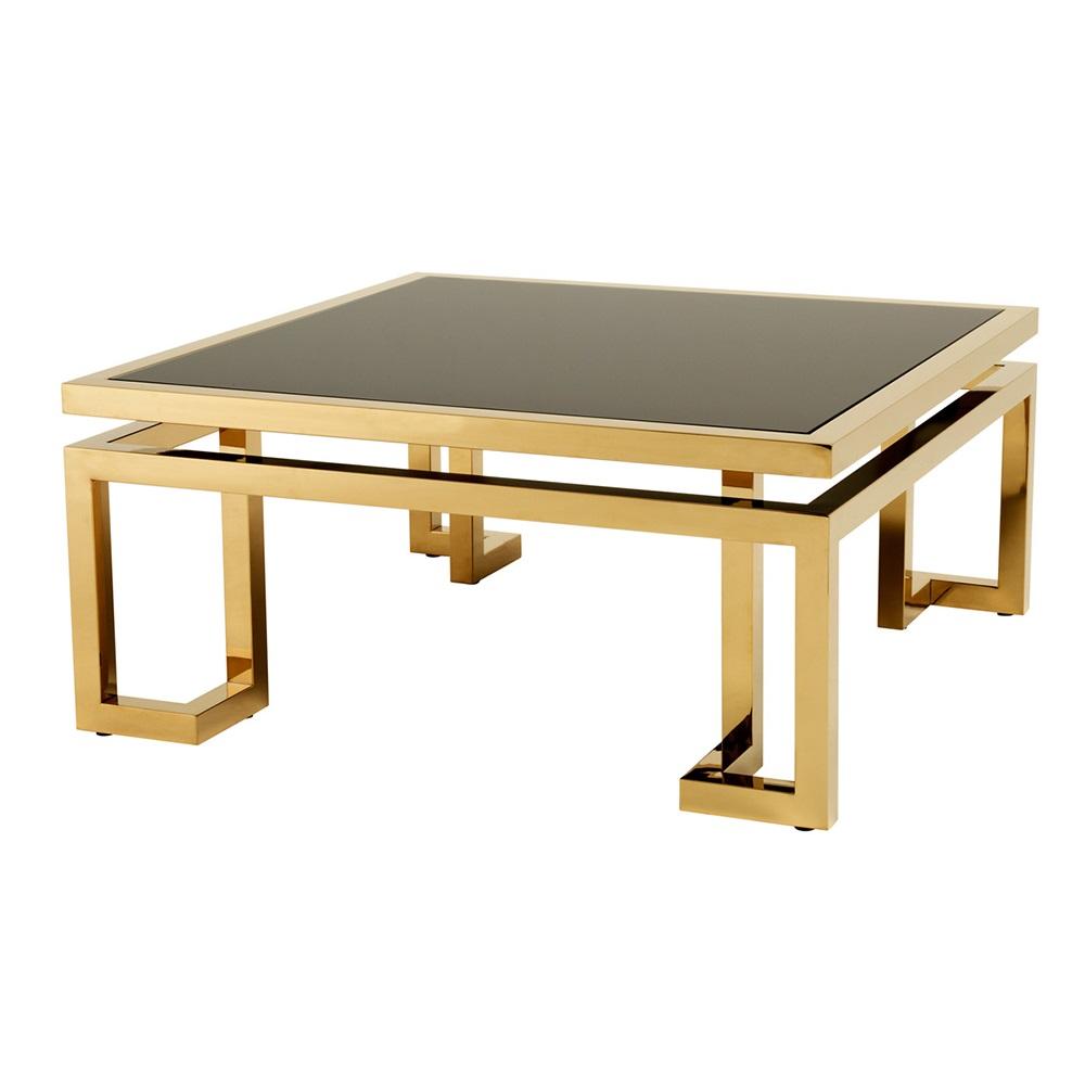 Журнальный столикЖурнальные столики<br>Журнальный столик Coffee Table Palmer с каркасом из металла золотого цвета. Столешница выполнена из плотного стекла черного цвета.<br><br>Material: Стекло<br>Width см: 100<br>Depth см: 100<br>Height см: 45