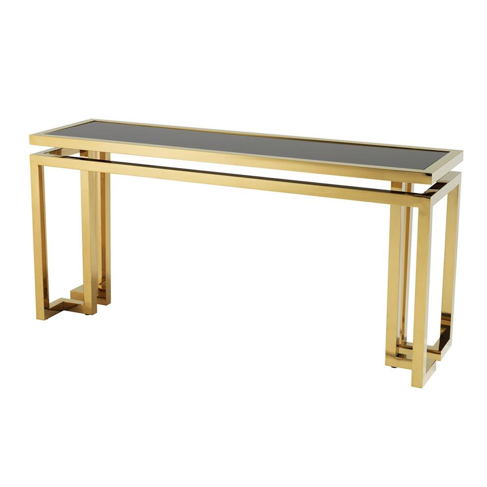 КонсольИнтерьерные консоли<br>Консоль Console Table Palmer с каркасом из металла золотого цвета. Столешница выполнена из плотного стекла черного цвета.<br><br>Material: Стекло<br>Width см: 160<br>Depth см: 45<br>Height см: 76