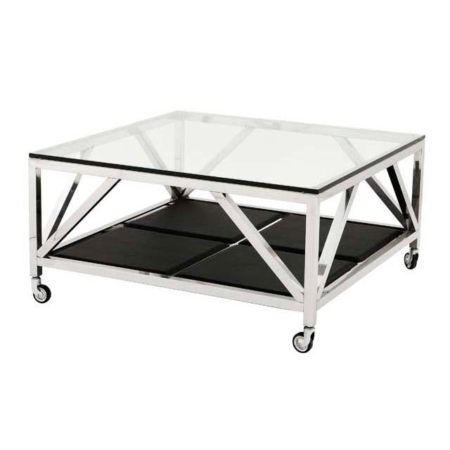 Журнальный столикЖурнальные столики<br>Журнальный столик Coffee Table Prado на колесиках с каркасом из нержавеющей стали. Столешница выполнена из плотного прозрачного стекла. Нижняя полка с отделкой из кожи черного цвета.<br><br>Material: Сталь<br>Width см: 100<br>Depth см: 100<br>Height см: 50