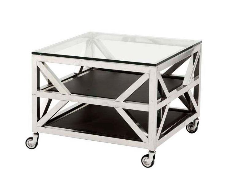 СтолПриставные столики<br>Приставной столик Side Table Prado на колесиках с каркасом из нержавеющей стали. Столешница выполнена из плотного прозрачного стекла. Полки с отделкой из кожи черного цвета.<br><br>Material: Сталь<br>Ширина см: 65.0<br>Высота см: 50.0<br>Глубина см: 65.0